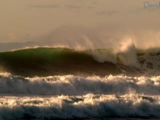 朝陽に照らされる大波