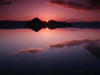 鏡のような洞爺湖