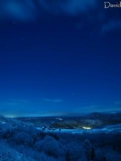 洞爺湖 月明かり 樹氷
