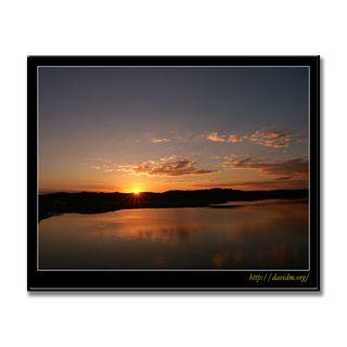 十勝川に陽が沈む