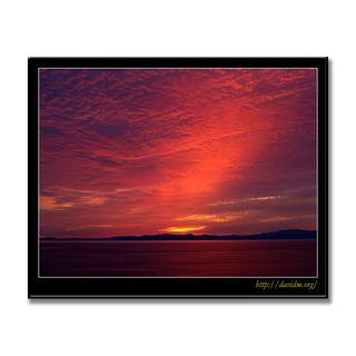 道南の山々と空を染め上げる夕陽
