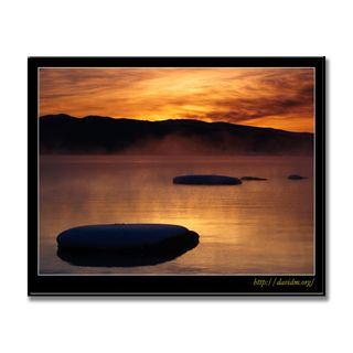 気嵐の洞爺湖と亀岩