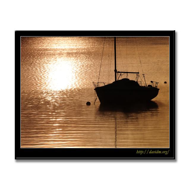 朝の光に浮かぶヨット