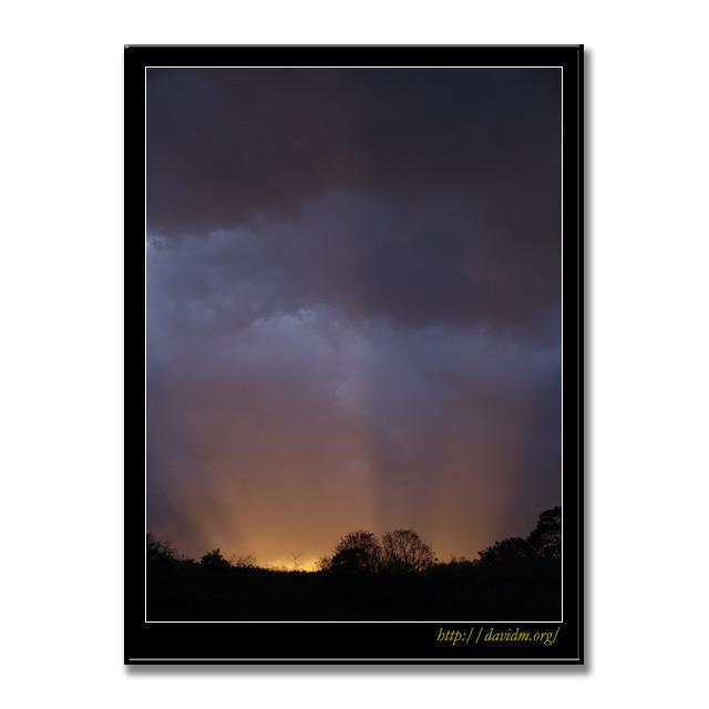 裏山から射す夕陽