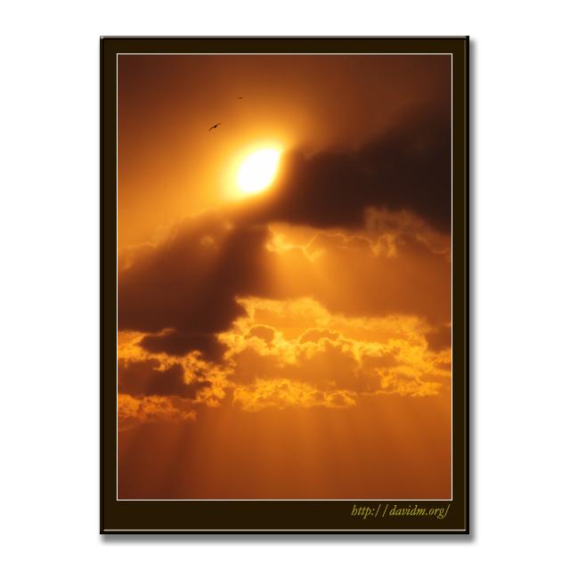 雲から顔を出す朝の太陽