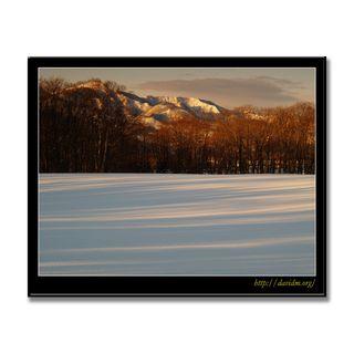 朝の雪原と来馬岳