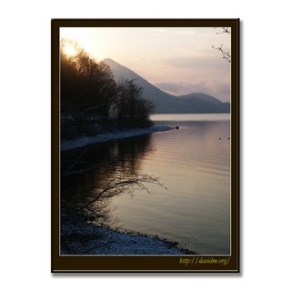 ある冬の朝の湖岸