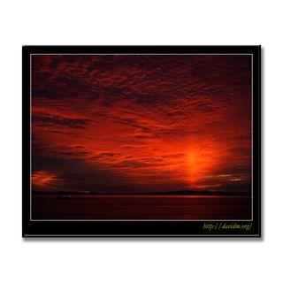 絵鞆の空に映る夕陽