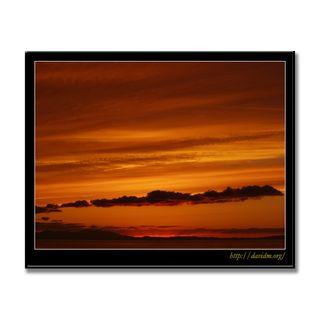 絵鞆の空を染める夕陽