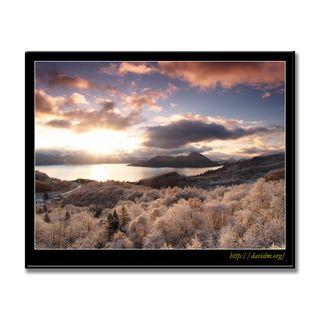洞爺湖の朝陽に輝く樹氷