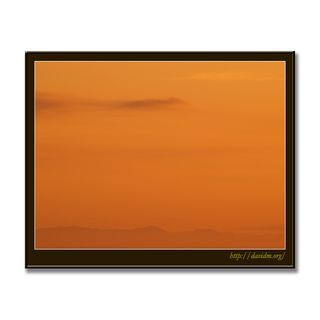 遠くにかすむ夕暮れの渡島半島