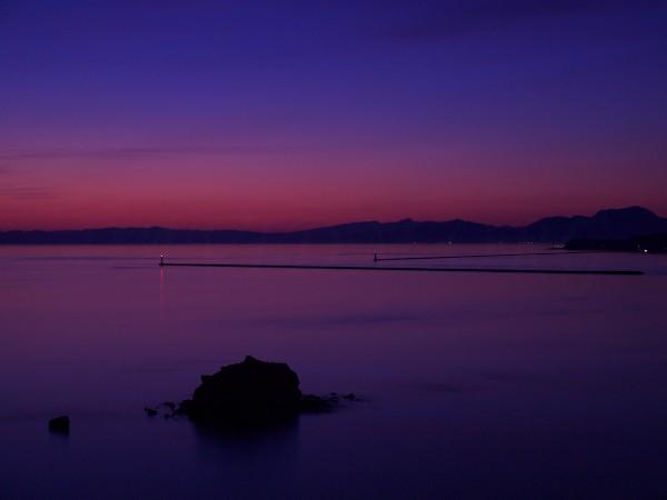 夕暮れの絵鞆岬の写真