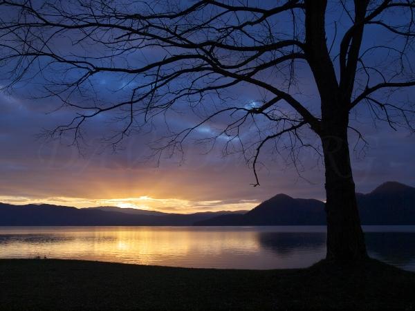 洞爺湖の朝の写真