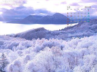 1月の壁紙カレンダー: 洞爺湖の樹氷
