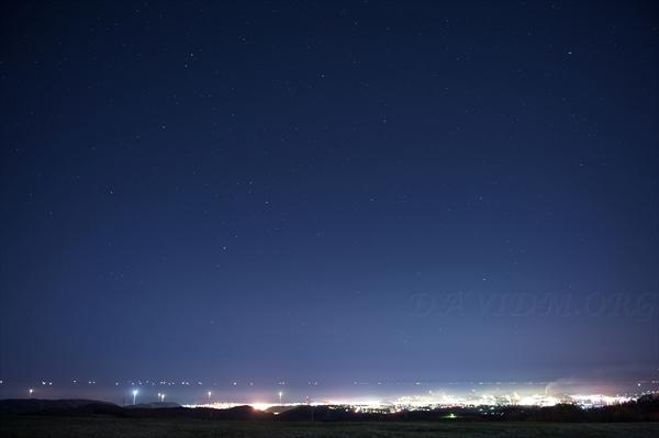 室蘭の夜景と星空