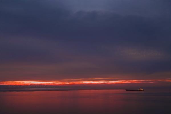 噴火湾の夕景の写真