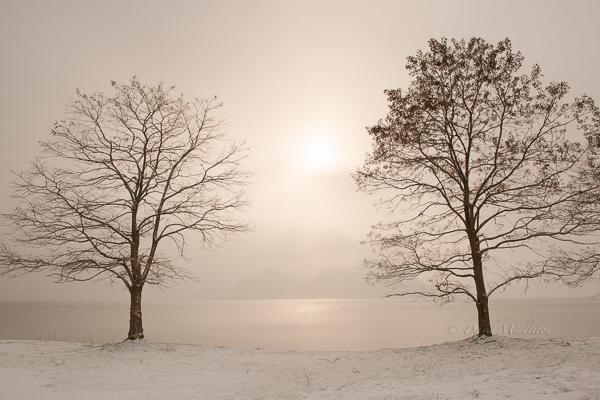 雪景色の洞爺湖