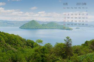 6月の壁紙カレンダー: 初夏の洞爺湖