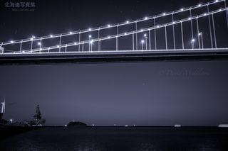 今月の壁紙: 星空と白鳥大橋