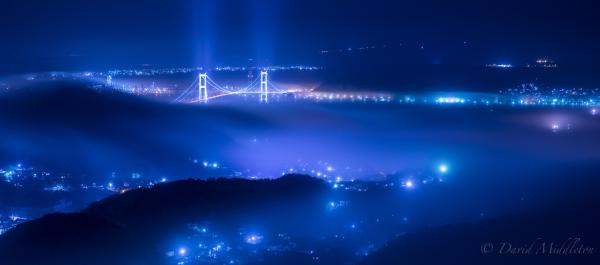 室蘭の霧の夜景の写真