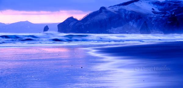 室蘭のイタンキ浜の夕暮れの写真
